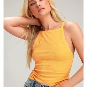 Free People Set It Up Ribbed Golden Yellow Tank